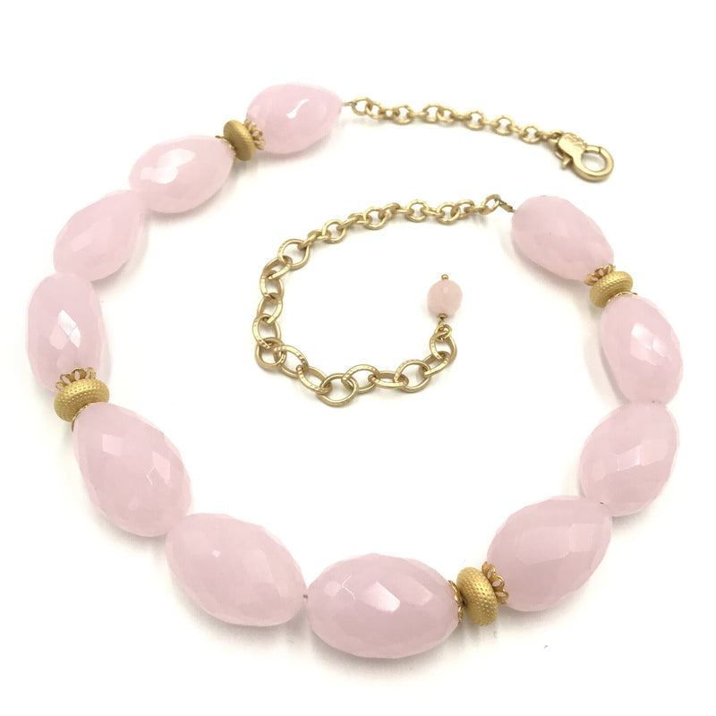 pink rose quartz gold necklace