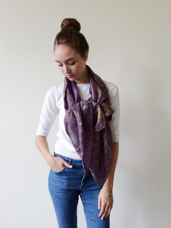 GOLD SPECKLE SILK FLACO SCARF (PURPLE)
