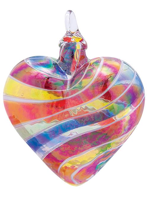 ARTISAN SERIES HEART ORNAMENT - RAINBOW & WHITE CANE