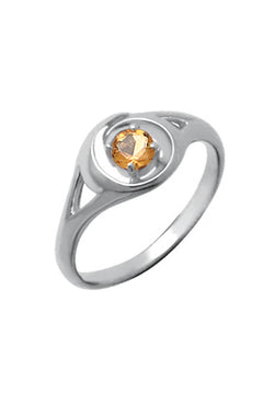 STERLING SILVER ROUND CITRINE RING