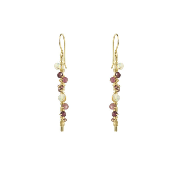 GF BAR EARRINGS WITH GARNET, RHODOLITE GARNET, OPAL & TOURMALINE