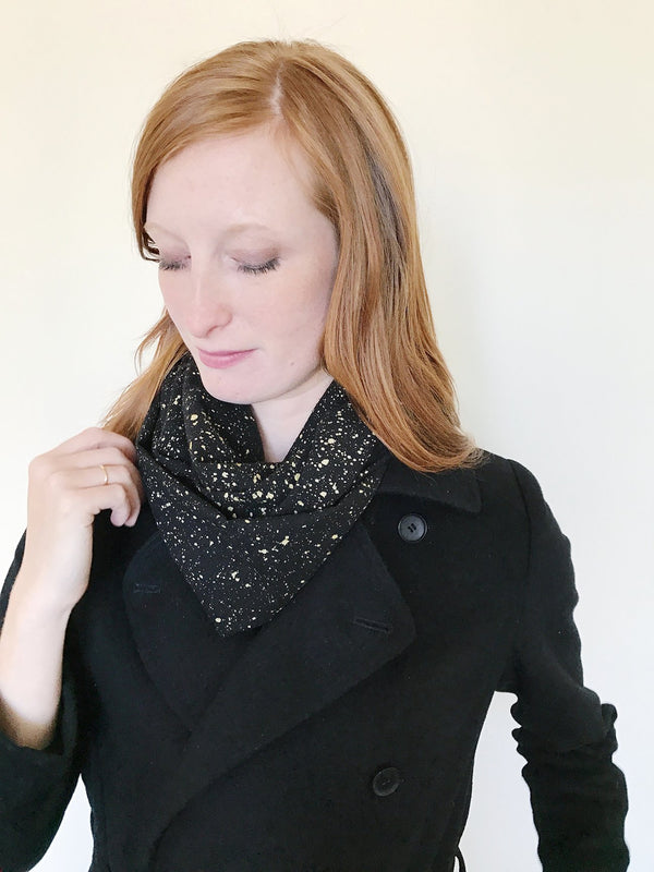 RAW SILK INFINITY SCARF (BLACK & GOLD SPECKLE)