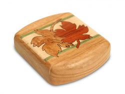 "BOTANICAL MARQUETRY BOX (1 3/4"" X 2"") - MAPLE LEAVES CHERRY"