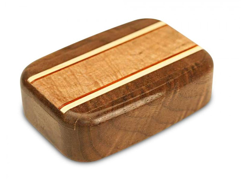 "NATURALS SECRET BOX (3"" X 2"") - WALNUT AND BURL MAPLE"