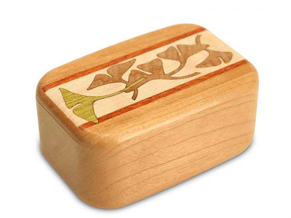 "BOTANICAL MARQUETRY BOX (3"" X 2"") - GINGKO LEAVES"