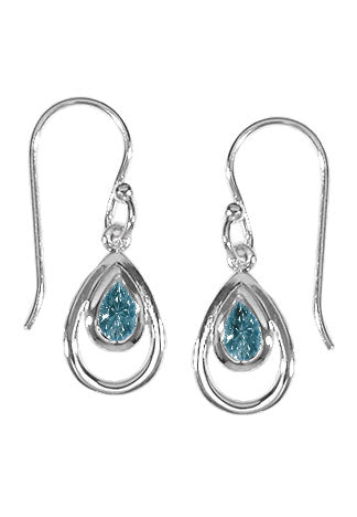 LIGHT BLUE TOPAZ TEARDROP EARRINGS