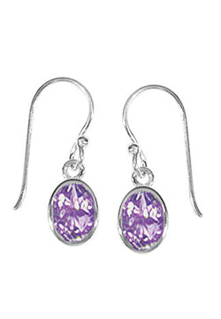 STERLING SILVER OVAL AMETHYST DANGLE EARRINGS