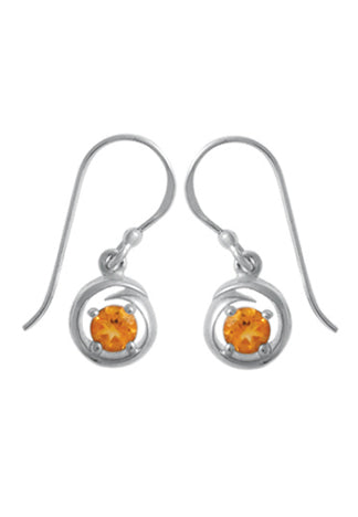 STERLING SILVER ROUND CITRINE DANGLE EARRINGS