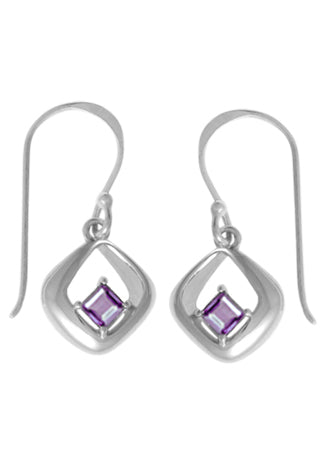STERLING SILVER SQUARE AND AMETHYST DANGLE EARRINGS