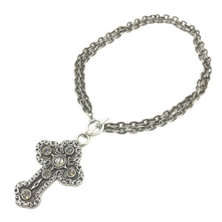 cross steel crystal necklace
