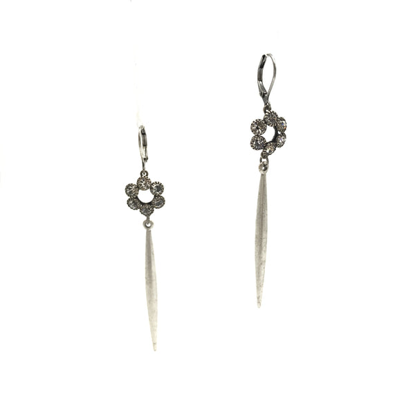 spike rhinestone flower sterling silver steel drop earrings