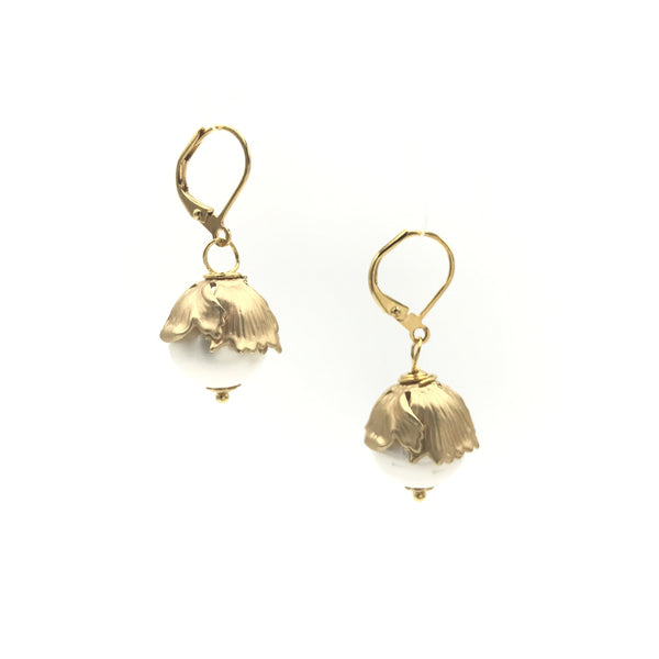 gold pearl petal flower earrings