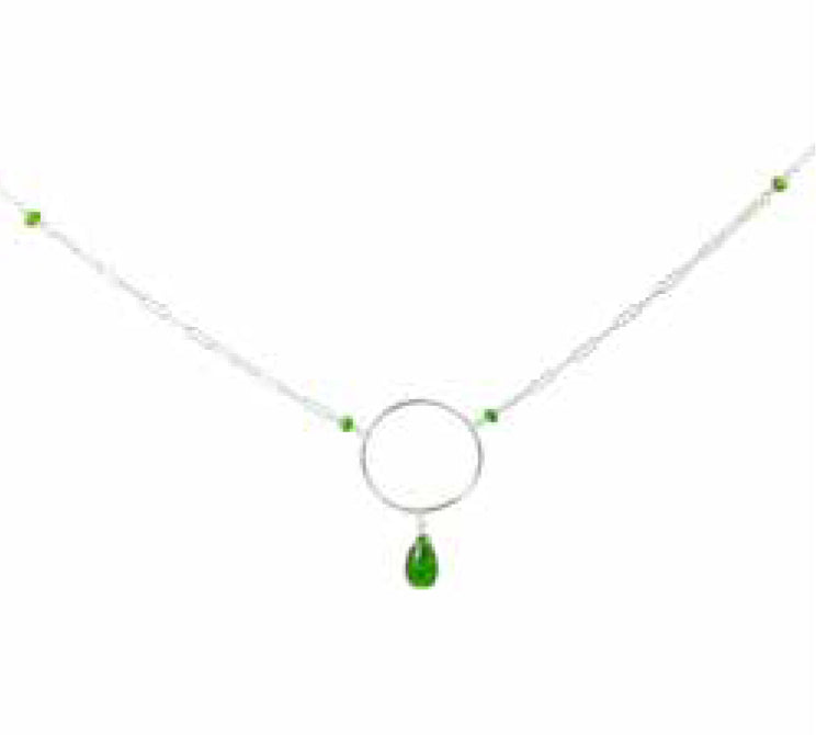 NECKLACE WITH SS HOOP WITH CHROME DIOPSIDE DROP AND TOURMALINE RONDELLES
