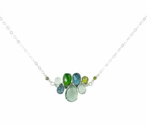 SS WOVEN PENDANT NECKLACE WITH CHROME DIOPSIDE, MOSS AQUAMARINE, KYANITE, GREEN CZ, AQUAMARINE & GREEN MYSTIC TOPAZ