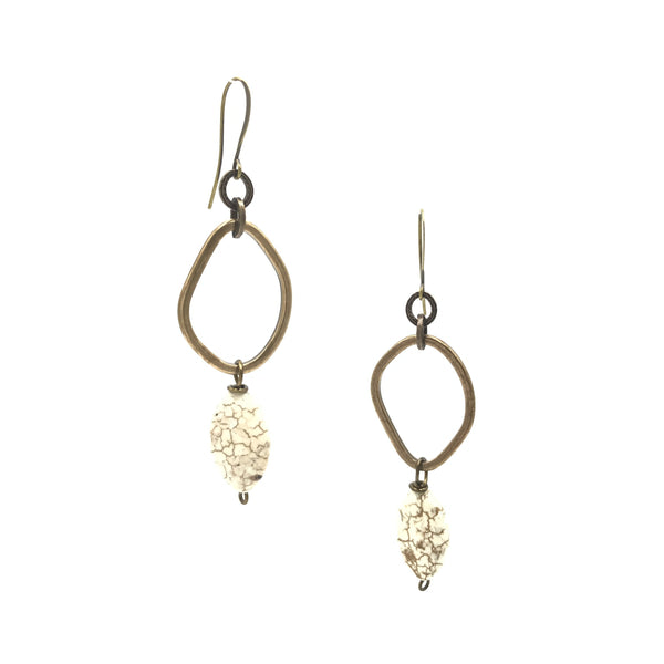bronze brass howlite drop earrings