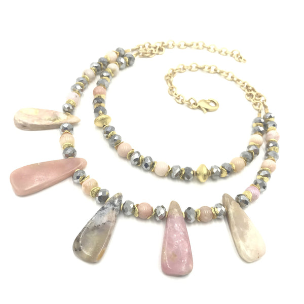 pink agate gray crystal statement gold necklace