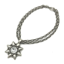 sterling silver steel star crystal statement necklace