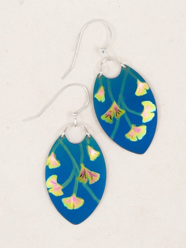 BLUE GINKGO LEAF EARRINGS