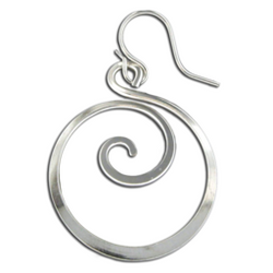 SS ROUND DANGLE SWIRL EARRINGS