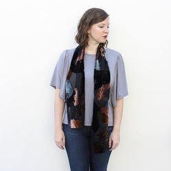 BURNOUT VELVET SCARF IN BLUE AND COPPER