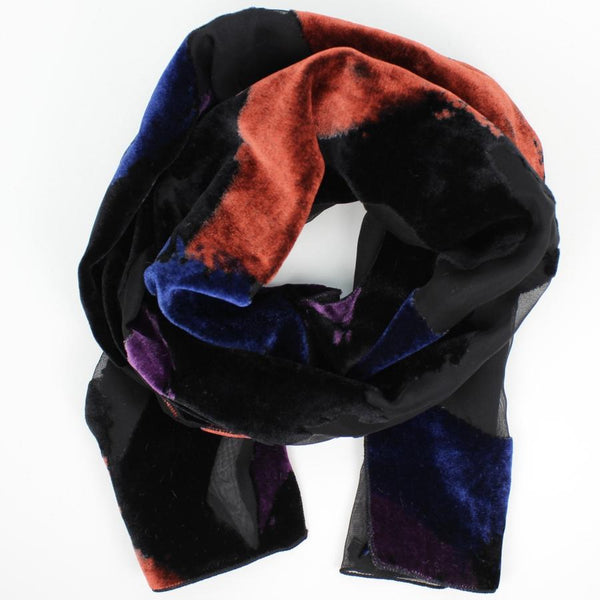 BURNOUT VELVET SCARF IN PURPLE AND RUST