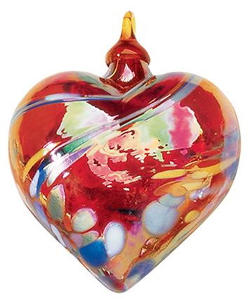 CLASSIC HEART ORNAMENT - RED FEATHER TWIST