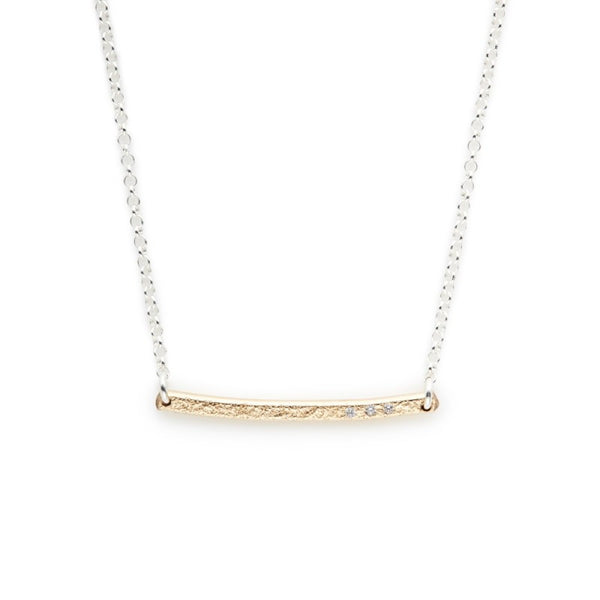 14K GOLD FILL BAR NECKLACE WITH WHITE CUBIC ZIRCONIA
