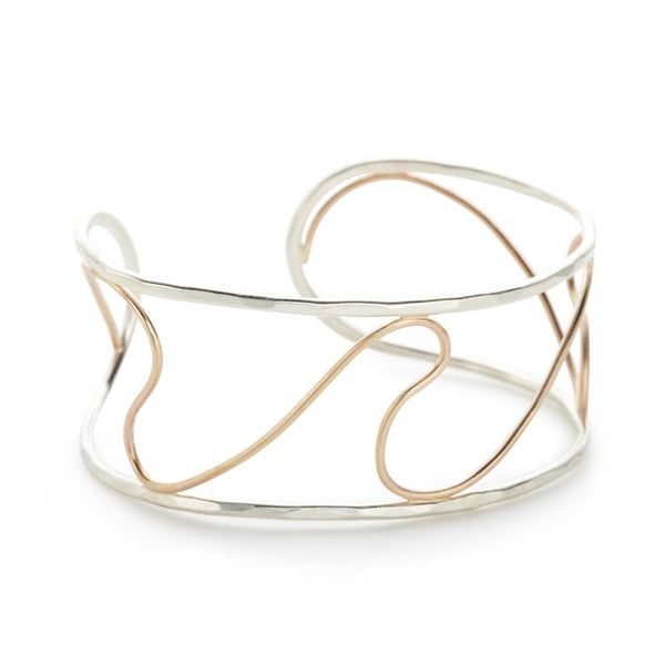 MIXED METAL OPEN WAVE CUFF