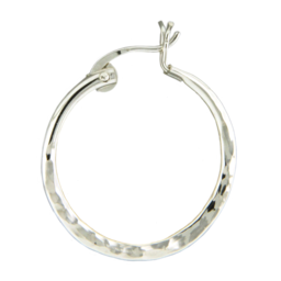 MEDIUM HAMMERED STERLING SILVER HOOP EARRINGS