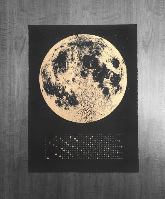 2019 MOON PHASE WALL CALENDAR (GOLD/BLACK)
