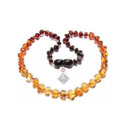 "BALTIC AMBER OMBRE NECKLACE 11"" POLISHED"