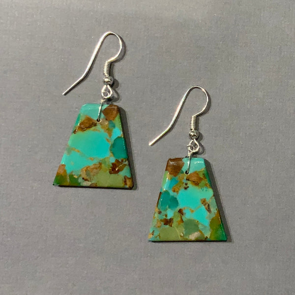 ROYSTON TURQUOISE SLAB TRAPEZOID EARRINGS