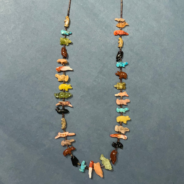 MULTI-COLORED MINI ZUNI FETISH NECKLACE