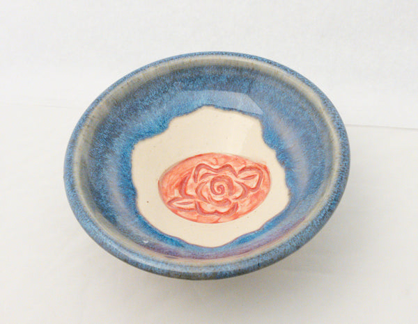 CREAM & BLUE SMALL BOWL WITH ROSE CARVING