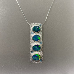 STACKED OPAL AND BLUE TOPAZ NECKLACE