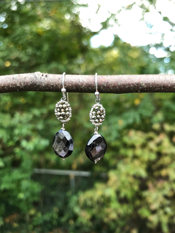 PYRITE AND HYPERSTHENE EARRINGS