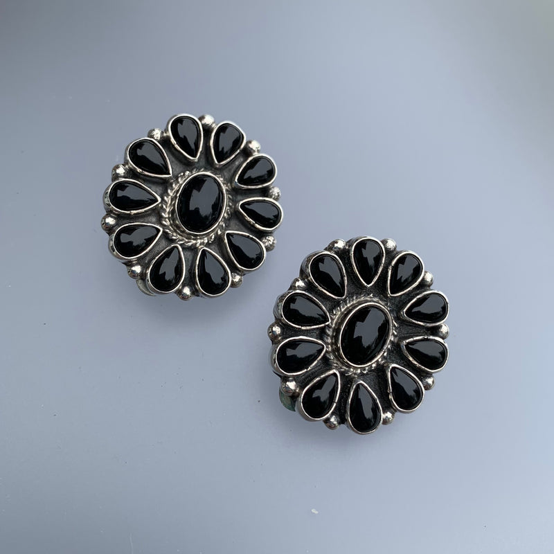 OVAL ONYX CLIP EARRINGS