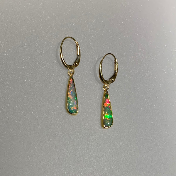 PINK GREEN OPAL TEARDROP EARRINGS