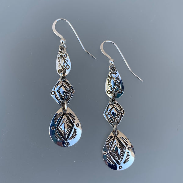 TRIPLE DANGLE SILVER EARRINGS