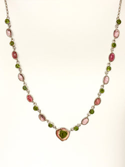 WATERMELON & GREEN TOURMALINE ROUND FACET NECKLACE