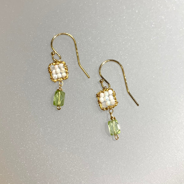 AUSTRALIAN OPAL AND PERIDOT EARRINGS