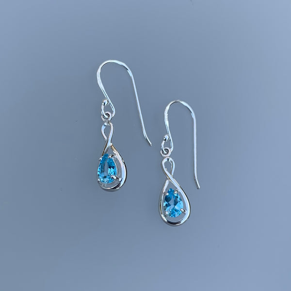 BLUE TOPAZ TEARDROP TWIST EARRINGS