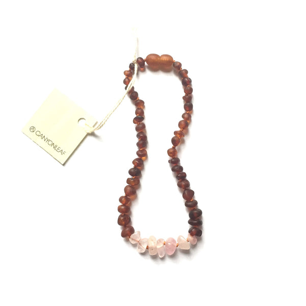 RAW COGNAC AMBER + RAW ROSE QUARTZ NECKLACE 11""