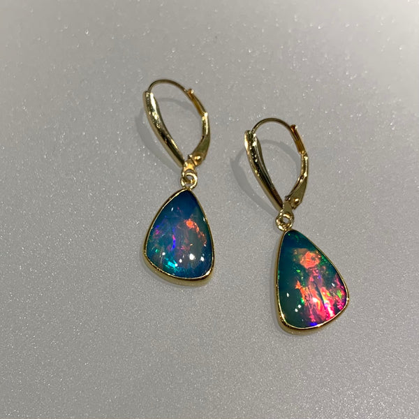 MULTICOLOR OPAL TEARDROP EARRINGS