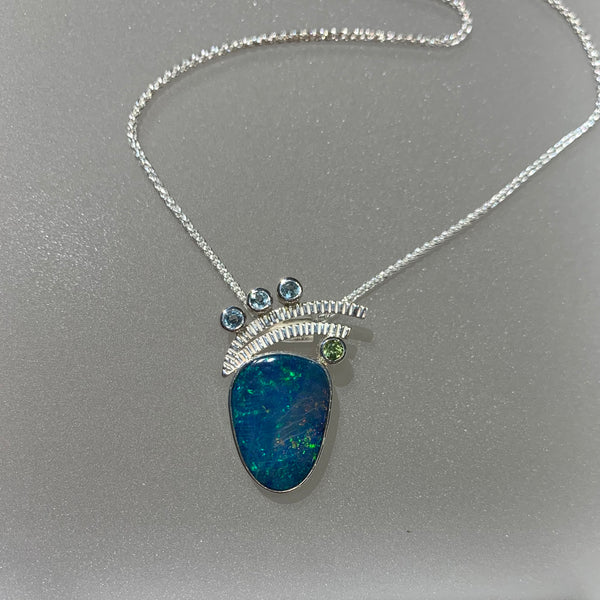 OPAL, BLUE TOPAZ AND PERIDOT PENDANT