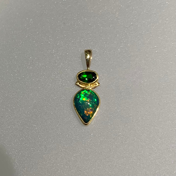 CHROME DIOPSIDE AND OPAL TEARDROP PENDANT
