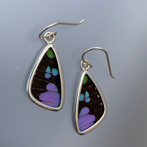 SMALL BUTTERFLY EARRINGS - BLACK/PURPLE/BLUE/GREEN