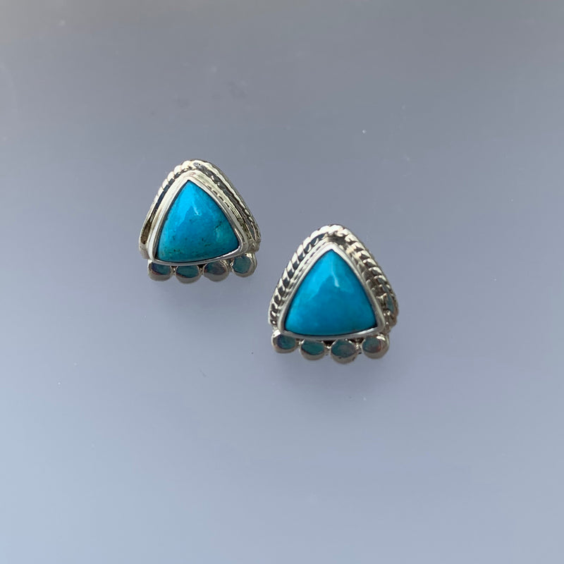 SMALL TURQUOISE TRIANGLE STUDS