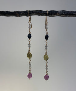 LONG MULTI SAPPHIRE WITH LABRADORITE RONDELLES GOLD EARRINGS