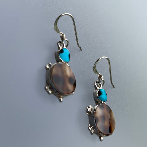 TURQUOISE & SHELL TURTLE EARRINGS